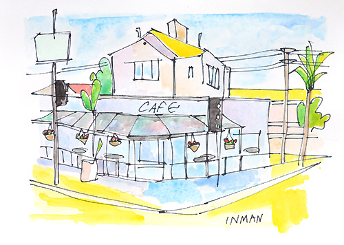 Kensington Cafe Painting Watercolor