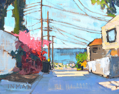 Ocean Beach Painting San Diego Bougainvillea Powerlines