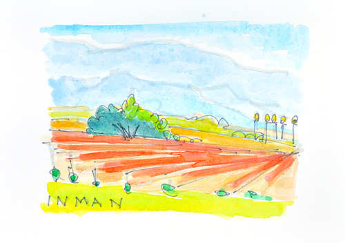 Bridlewood Winery Santa Ynez Valley Watercolor Painting