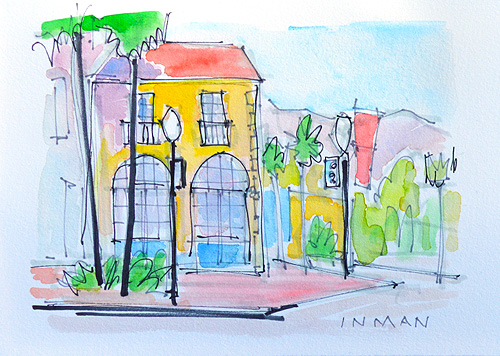 State Street Santa Barbara Watercolor Painting