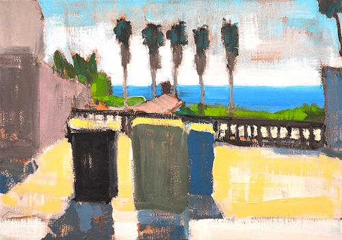 Ocean Beach Painting San Diego Landscape Trash Cans