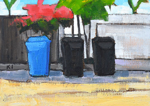 Trash Cans & Bougainvillea San Diego Alley Painting