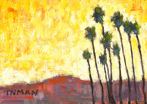 Sunset Palm Trees Santa Barbara Painting