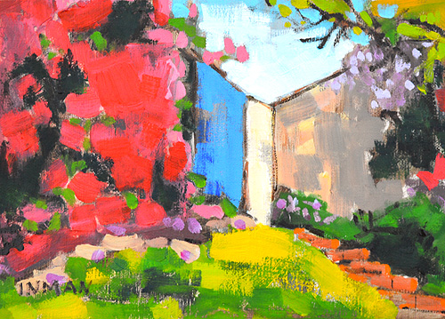Bougainvillea in Hillcrest San Diego Garden Painting