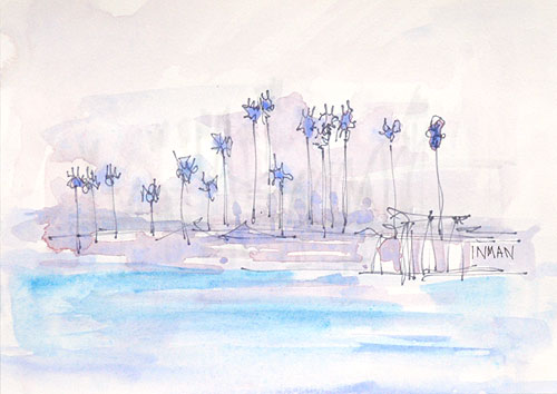 Palm Trees Mission Bay San Diego California Painting Watercolor