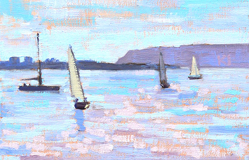 San Diego Bay Sailboats Painting