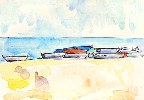 Coronado Boats Watercolor Painting San Diego California