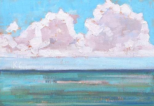 San Diego Seascape Painting Cabrillo Clouds