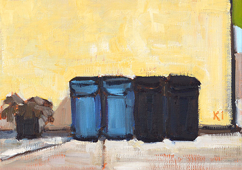 Trash Cans in the Alley Painting San Diego