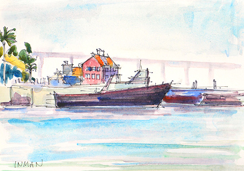 San Diego Bay Watercolor Painting