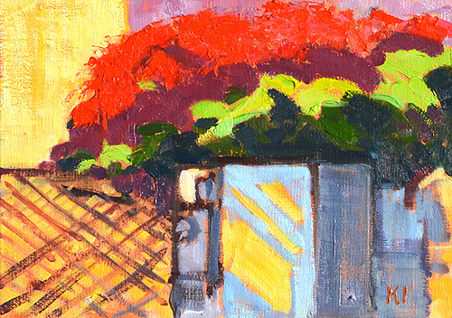 Bougainvillea in Little Italy San Diego Painting