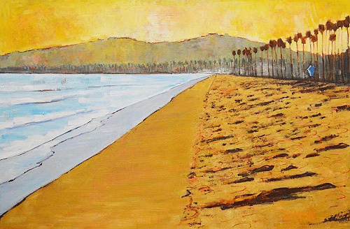 Sunset in Santa Barbara Painting