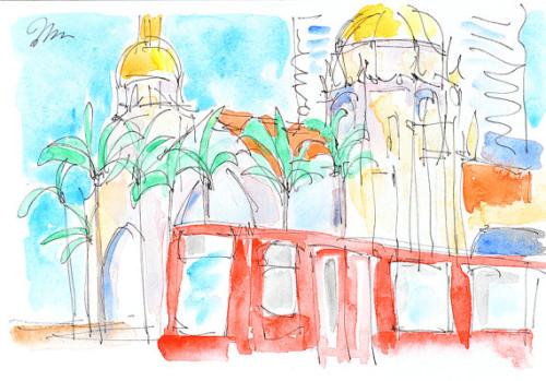 San Diego watercolor painting santa fe depot