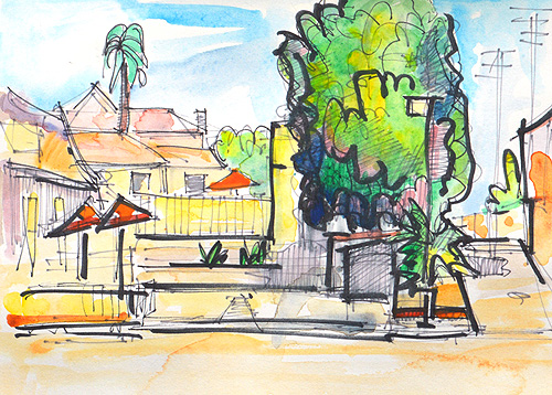 San Diego Watercolor Urban Painting