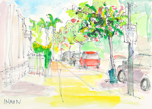 Little Italy San Diego Watercolor Painting