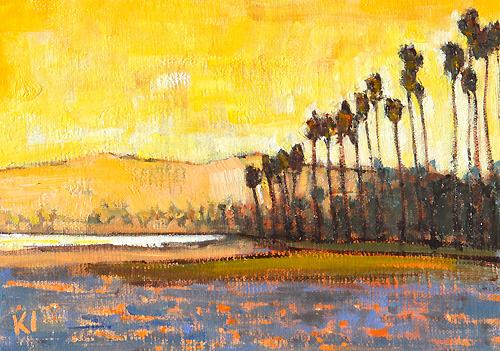 Santa Barbara Beach Painting Sunset