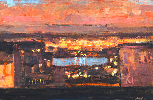 San Diego Sunset Painting City Lights