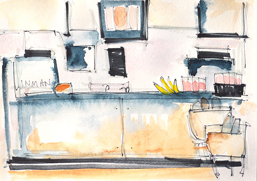 Starbucks Interior Watercolor