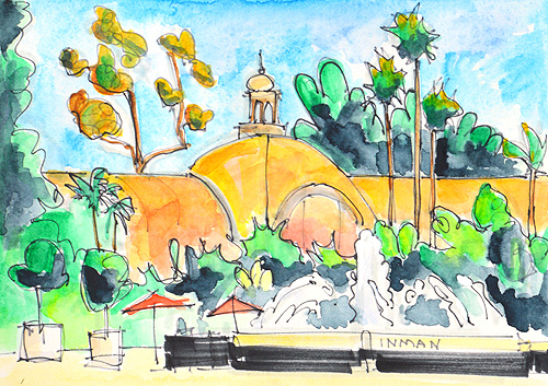 Botanical Building Painting San Diego Watercolor