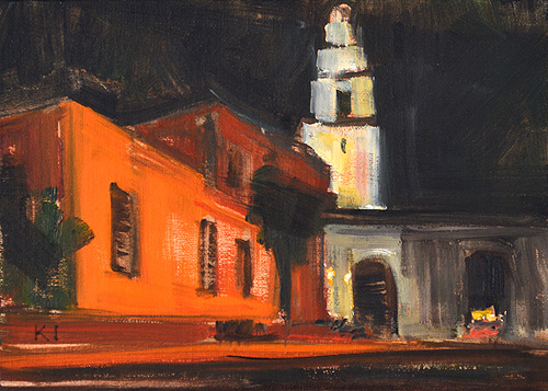 San Diego Night Painting El Prado