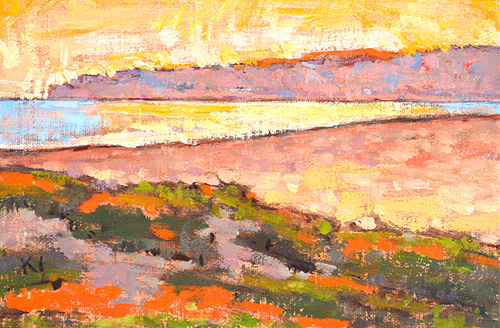 Santa Barbara East Beach Sunset Painting