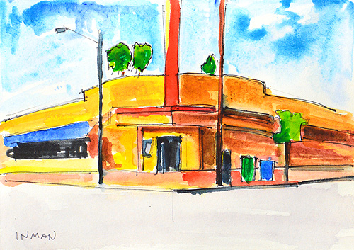 Brass Rail San Diego Watercolor Painting