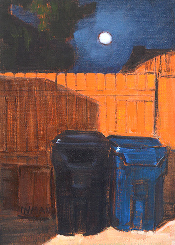 Nocturne Night Painting San Diego Trash Cans
