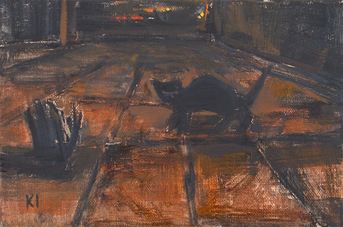 Night Cat Painting Nocturne San Diego