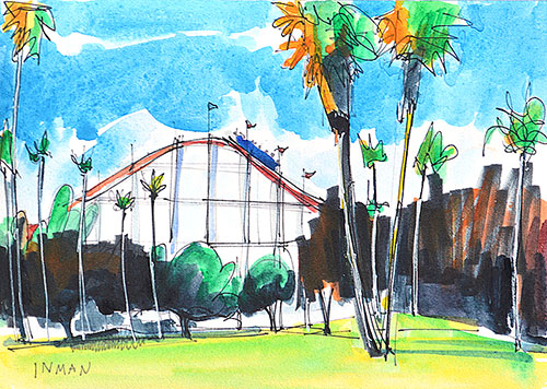 Mission Beach Roller Coaster Watercolor Painting