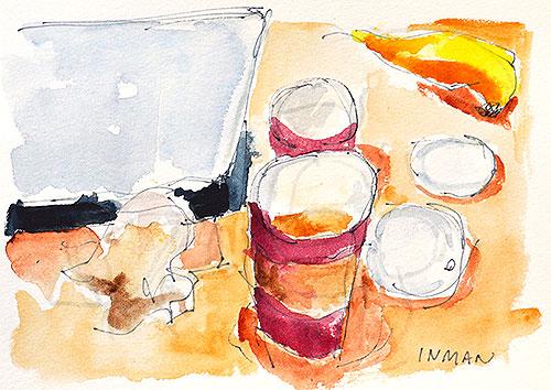 Breakfast Still Life Watercolor Painting