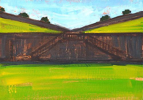 Montjuic Castle Painting Barcelona Landscape