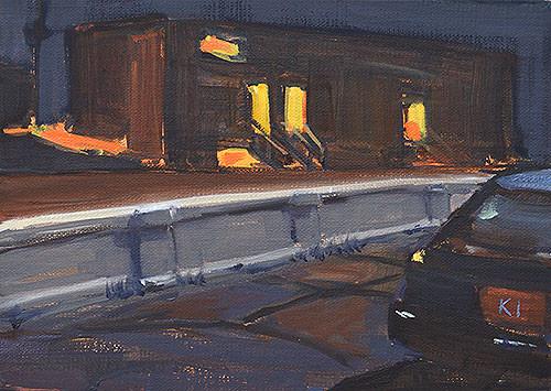 San Diego Night Painting Nocturne Georgia Street Bridge