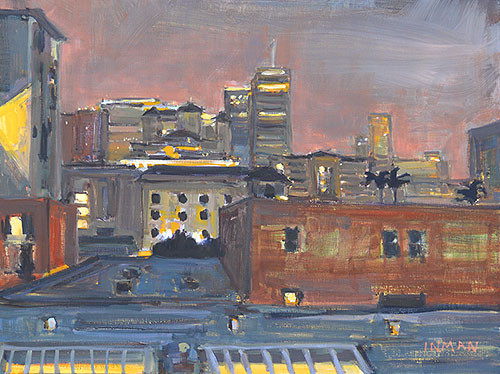 San Diego Night Painting Downtown Gaslamp