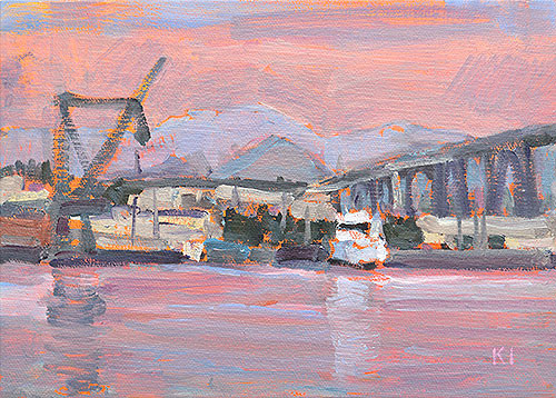 San Diego Bay Painting Industrial Plein Air