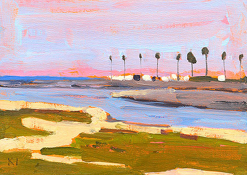 Mission Beach Palm Trees San Diego Painting