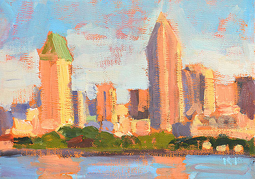 Smog Over Downtown San Diego Plein Air Painting
