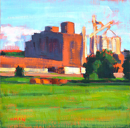 Grain Elevator, Oklahoma Landscape Painting Kevin Inman