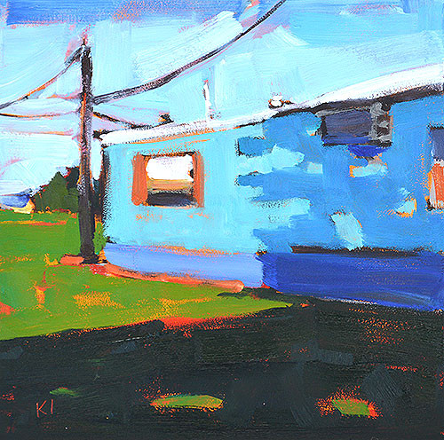 Blue Trailer Home Oklahoma Landscape Painting