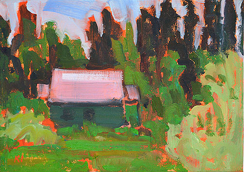 McCall Idaho Painting, Cottage in the Woods