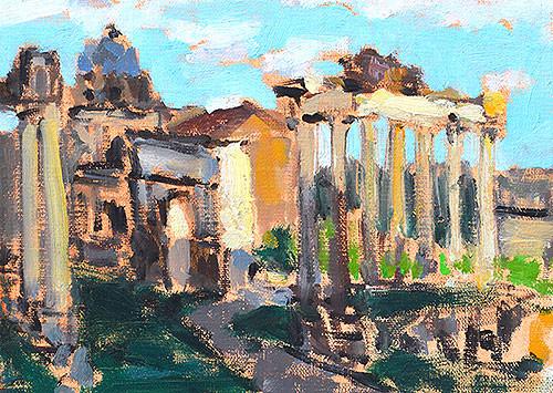 Roman Forum Painting Rome Italy Veduta Foro Romano Roma Italia