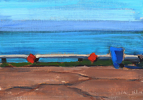 Trash Can Painting San Diego Ocean Beach by Kevin Inman