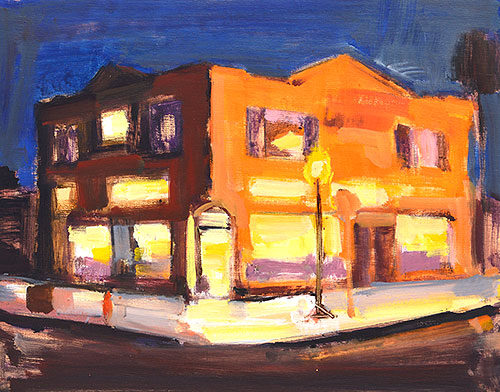 San Diego Night Painting Nocturne Golden Hill by Kevin Inman