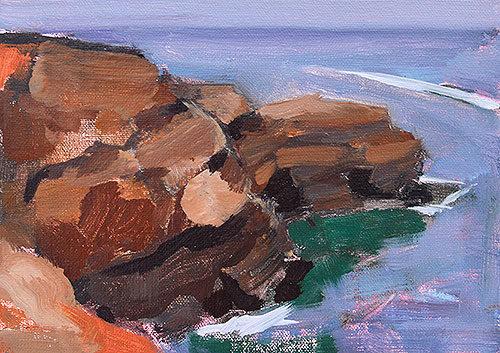 Sunset Cliffs San Diego Beach Plein Air Painting by Kevin Inman