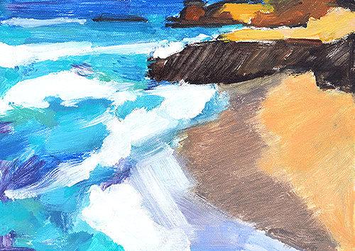 La Jolla Beach Plein Air Painting by San Diego Artist Kevin Inman