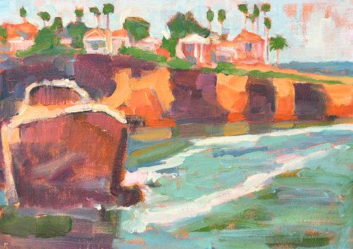 Sunset Cliffs Plein Air Painting San Diego Landscape by Kevin Inman