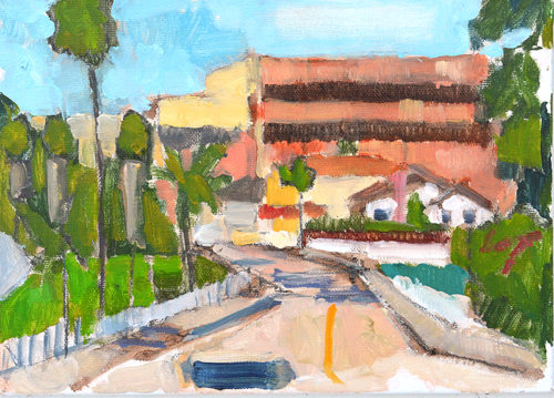 163 Freeway Bridge Hillcrest San Diego Landscape painting by Kevin Inman