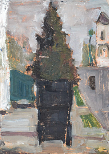 Trash can plein air painting by Kevin Inman