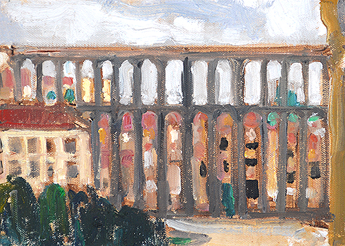 Segovia Aqueduct Painting Spanish Landscape by Kevin Inman