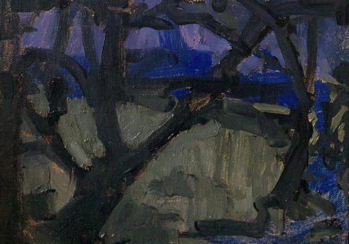 Oak Trees at Night, Templeton California Landscape Painting