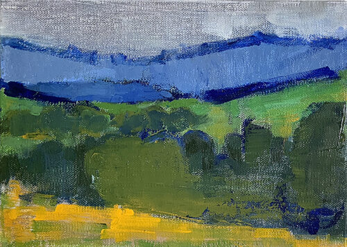 Painting of Santa Ynez Valley mountains and hills